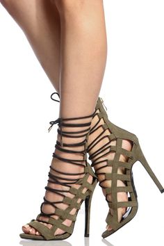 Olive Faux Suede Lace Up Open Toe Heels @ Cicihot Heel Shoes online store sales:Stiletto Heel Shoes,High Heel Pumps,Womens High Heel Shoes,Prom Shoes,Summer Shoes,Spring Shoes,Spool Heel,Womens Dress Shoes