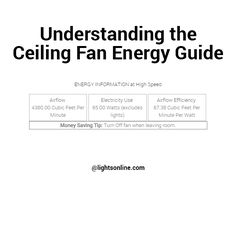 Learn how to understand the ceiling fan energy guide that can be found alongside every ceiling fan at Lights Online!