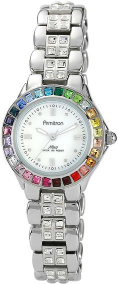 Armitron Now Womens Rainbow Crystal Accent Silver-Tone Mother-of-Pearl Watch
