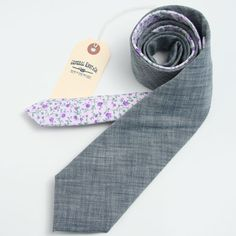 Japanese Indigo Chambray & 1950s Floral Necktie - vintage ties handmade in the United States