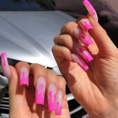 Ideas for Kylie Jenner Drip Nails. Check out our nails selection for the very best in unique or custom Kylie Jenner Drip Nails. Uñas Kylie Jenner, Ongles Kylie Jenner, Kylie Jenner Nails, Drip Nails, Dipped Nails, Gel Nails, Nail Polish, Cute Acrylic Nails, Cute Nails
