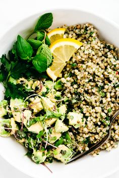 Green Goddess Revitalization Bowl with Herbed Buckwheat, Avocado and Microgreens