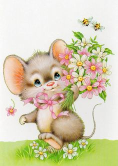 Vintage Postcard Sweet little mouse with flowers bees