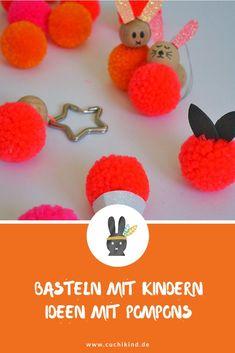 Bastelideen mit Pompons/Pompoms. Osterhase, Eis, Apfel und Schlüsselanhänger. Basteln mit Kindern und tolle Geschenkideen. DIY-Geschenk  #pompoms # pompons #bommel #bastelnmitkindern #diygeschenk Diy For Kids, Crochet Earrings, Christmas Ornaments, Holiday Decor, Blog, Key Pouch, Homemade, Christmas Jewelry, Blogging