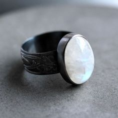 Moonstone Ring, Snow White Rainbow Moonstone Wide Band Oxidized Sterling Silver Ring Moonstone Jewelry  - Magick - Size 7. $104.00, via Etsy. // LOVE moonstone!