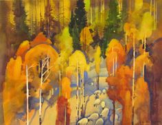 """Stephen Quill / Autumn Sheep Drive by Wolf Creek Pass 18 3/4"""" X 24 1/2"""" watercolor & gouache"""