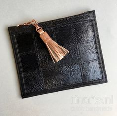 : Black leather purse with patchwork /  Leather zipper pouch with rose gold tassel. Gift for women.  OOAK purse