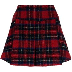 Pinko Pleated Tartan Skirt ($285) ❤ liked on Polyvore featuring skirts, mini skirts, saias, bottoms, red skirt, plaid skirt, short pleated skirt, plaid miniskirts and short skirts