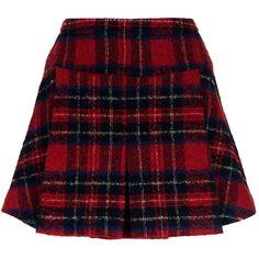 Pinko Pleated Tartan Skirt ($285) ❤ liked on Polyvore featuring skirts, mini skirts, bottoms, short plaid skirt, plaid miniskirts, plaid skirt, red plaid mini skirt and pleated mini skirt