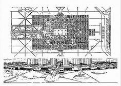 """Le Corbusier  : La ville de trois millions d'habitants 1922.  Celui-ci inspirera plus tard les divers autres plans pour Alger, Nemours, Barcelone, Buenos-Aires, Montevideo, Sao Paulo, etc. Le but de ce plan n'était pas de vaincre des états de choses préexistants, mais d' """"arriver en construisant on édifice théorique rigoureux, a formuler des principes fondamentaux d'urbanisme moderne"""""""