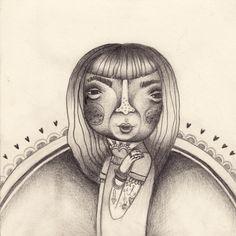 random girl  drawing /// illustration  pencil