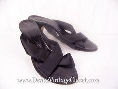 70s Vintage Capezio Heels Black Satin 6 1/2 N