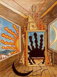 "Giorgio de Chirico ""Metaphysical Interior with Setting Sun"", 1971 (Italy, Metaphysical Art, cent. Modern Art, De Chirico, Painting Gallery, Artist Inspiration, Metaphysical Art, Painting, Art, Art Movement, Street Art"