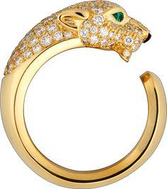 Panthère de Cartier ring Yellow gold, diamonds, emeralds, onyx
