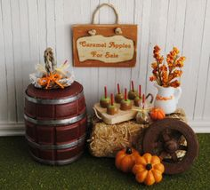 Miniature Fall Scene With Bale Of Hay A by LittleThingsByAnna, $47.50