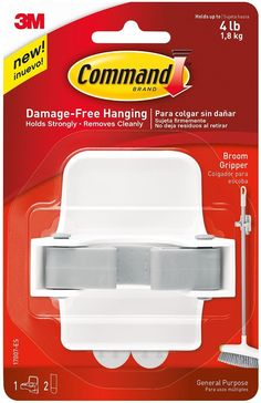 Command 17007-ES Broom Gripper, White With Grey Band