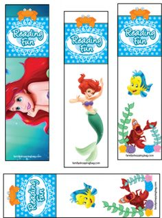 Printable Little Mermaid bookmarks.