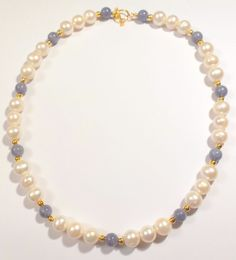 Tanzanite and Pearl Necklace White Pearl by SundarAndFrouFrou