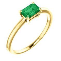 14K Yellow Chatham® Created Emerald Ring