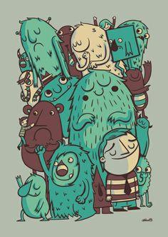 An Odd Crowd art, multi, greg abbott Illustration Main, Monster Illustration, Character Illustration, Graphic Design Illustration, Graphic Art, Little Monsters, Cute Monsters, Doodles, Monster Art