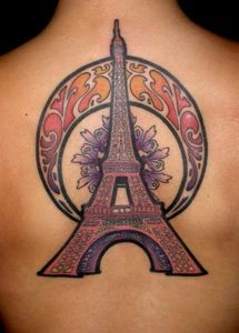 Love this tattoo! Art Nouveau and the Eiffel Tower?!?? Yes please!