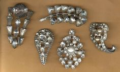 vintage art deco rhinestone findings BOX LOT repurpose bridal focal antique, FIVE pieces large pieces As Is by beadtopiavintage on Etsy
