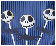 Cool Halloween Cake Pops #food #recipe. Seriously I love the Nightmare Before Christmas I may have to make these.