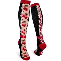 Cherries Socks by ModSock. These food & drink themed womens knee high socks fit fits women's shoe sizes 6 to Order today and get Free US shipping 1950s Fashion, Vintage Fashion, Vintage Fur, Vintage Style, Vintage Ideas, Vintage Photos, Calf Socks, Novelty Socks, Girls Socks