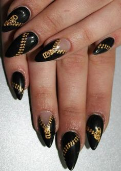 Zipper nails. Not into the whole pointy nail trend, but i think the design is awesome.