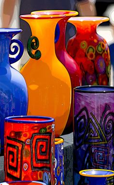 Colorful Art-Glass --This glassware was on display at Spanish Village, an arts and crafts area in Balboa Park, San Diego, California★♥★ Happy Colors, True Colors, All The Colors, Vibrant Colors, Royal Colors, Jewel Colors, Jewel Tones, World Of Color, Color Of Life
