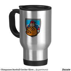Chimpanzee Baseball Catcher Glove Shield Retro Travel Mug. Retro styled travel mug designed with an illustration of chimpanzee baseball catcher with a glove in front set inside a shield. #baseball #olympics #sports #summergames #rio2016 #olympics2016