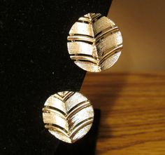 Lisner Textured Chevron Clip Earrings - Silver Tone Back - Light Gold Tone Front - Very Nice Vintage Condition - with Free Shipping
