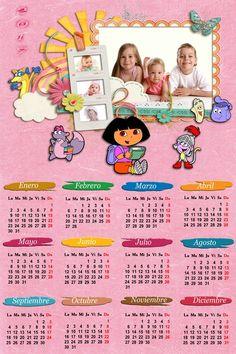 Calendarios para Photoshop: Calendario infantil 2017 Dora la exploradora para ...