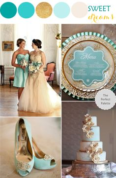 """ Dreamy, enchanting, and all sorts of elegant, this beautiful palette with hints of teal and soft shades of minty aqua really has me dreaming of a very sweet soirée. Blue Wedding, Spring Wedding, Dream Wedding, Wedding Day, Mint Gold Weddings, Wedding Themes, Wedding Styles, Wedding Decorations, Wedding Color Schemes"