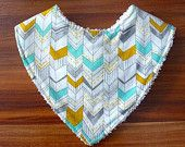 Chevron print organic cotton dribble bib