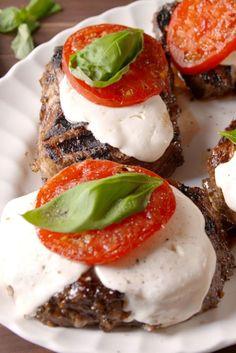 Caprese Steak  - Delish.com Use stevia instead of honey for low carb