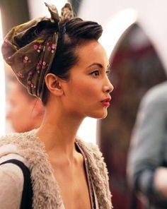 model wearing printed head scarf / sfgirlbybay