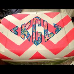 Chevron and Lilly cooler top