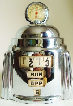 American Art Deco Chrome Plated Mechanical Kal-Klock with Tel-Tru Thermometer http://www.1stdibs.com/furniture/more-furniture-collectibles/clocks/