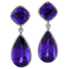 Tanzanite Large Dangle & Diamond Platinum Earrings 1