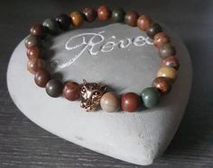 Bracelet for men with picasso Jasper rose gold plated Panther Bracelets For Men, Beaded Bracelets, Good Morning Gorgeous, Rose Gold Plates, Picasso, Panther, Jasper, Etsy, Jewelry