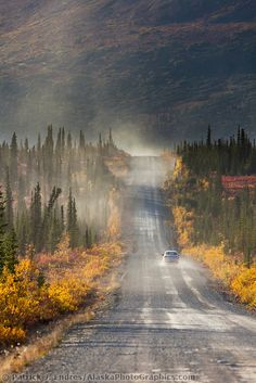 Vehicle travels the Denali Highway, a gravel road transecting the Parks and Richardson highways, Interior, Alaska. Beautiful Sites, Beautiful Places, Great Places, Places To Go, Awesome America, Alaska Travel, Alaska Trip, Patterns In Nature, Where To Go