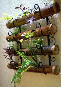 bamboo planters  Wall art....fence art!!