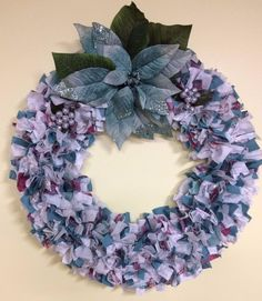Clearance - Christmas Wreath. Blue Poinsetta, White, and Silver, Fabric, Ribbon #Unbranded