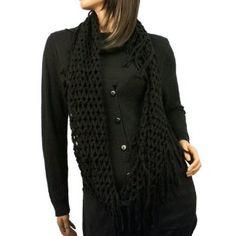 Winter Knit Fishnet Net Fringe Loop Circle Eternity Infinity Scarf Chain Black SK Hat shop. $16.95