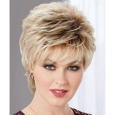 Stunning Short Pixie Cut Synthetic Light Brown Mixed Fluffy Straight Women's Wig