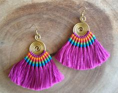 Fuschia Tassel Fan Earrings Festival Tassel Earrings Tassle Earings BOHO Chic Earrings Gypsy Tassle Jewelry Trending Now Wholesale Jewelry jewelry trends Bar Stud Earrings, Diy Earrings, Earrings Handmade, Handmade Jewelry, Macrame Earrings, Tribal Earrings, Silver Earrings, Tassel Earing, Tassel Jewelry
