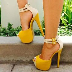 New Design Women Fashion Open Toe High Platform Pumps Yellow Suede Leather Super High Ankle Straps High Heels Dress Shoes Cute Shoes, Me Too Shoes, Pumps Heels, Stiletto Heels, Stilettos, Gold Heels, Louboutin Pumps, Sexy Posen, Heeled Boots