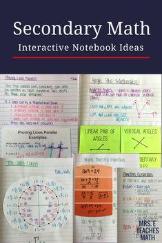 interactive notebook and foldable ideas for secondary math - pre-algebra, algebra, geometry, pre-calculus, and calculus #mathtutoringideas