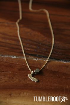 State love brass charm necklace